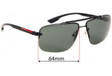 Sunglass Fix Sunglass Replacement Lenses for Prada SPS52O - 64mm Wide