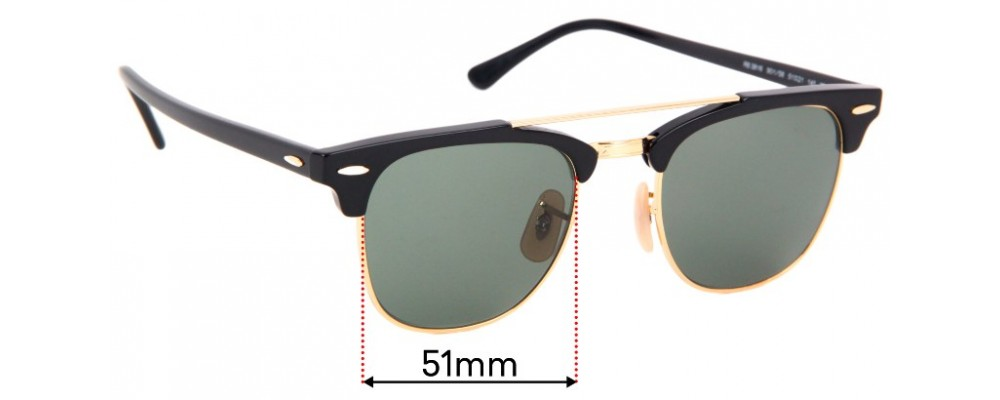 Sunglass Fix Sunglass Replacement Lenses for  Ray Ban RB3816 - 51mm Wide