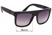 Sunglass Fix Sunglass Replacement Lenses for Gucci GG1116/S - 55mm Wide