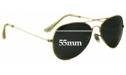 Sunglass Fix Sunglass Replacement Lenses for Ray Ban Aviators RB3025 Bausch Lomb Large Metal - 55mm across