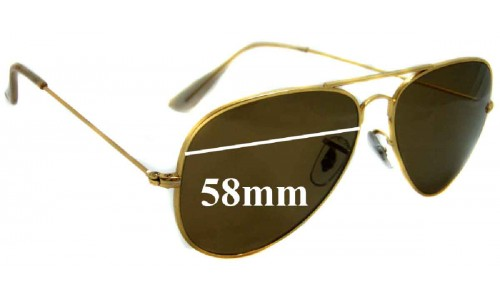 Sunglass Fix Sunglass Replacement Lenses for Ray Ban B&L Aviator RB3025 - 58mm Wide