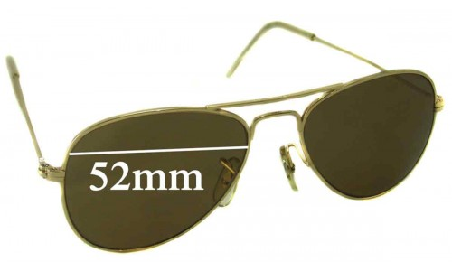 Sunglass Fix Sunglass Replacement Lenses for Ray Ban B&L Aviator USA - 52mm Wide