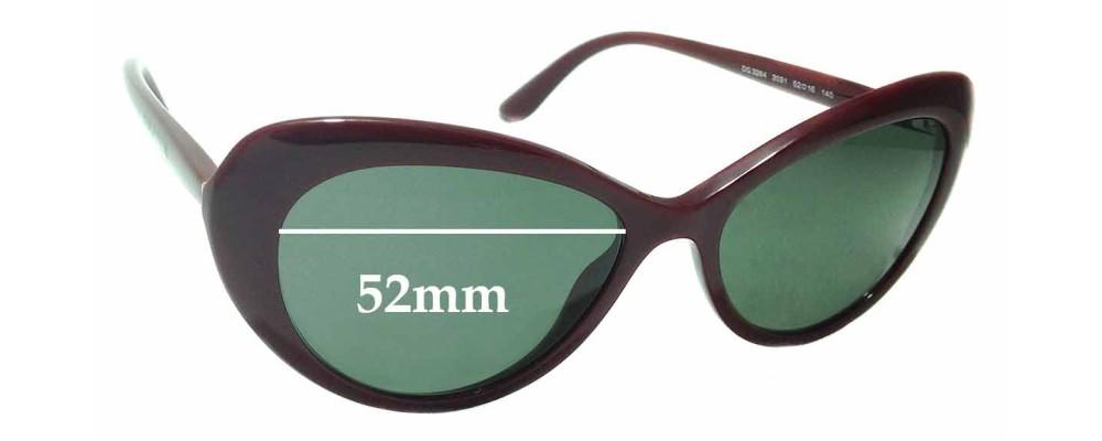 Sunglass Fix Sunglass Replacement Lenses for Dolce & Gabbana DG3264 - 52mm Wide