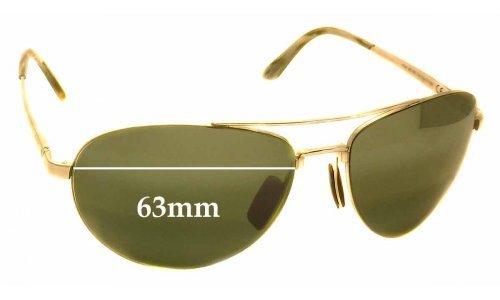 Sunglass Fix Sunglass Replacement Lenses for Maui Jim Pilot ME-BG MJ210 - 63mm wide