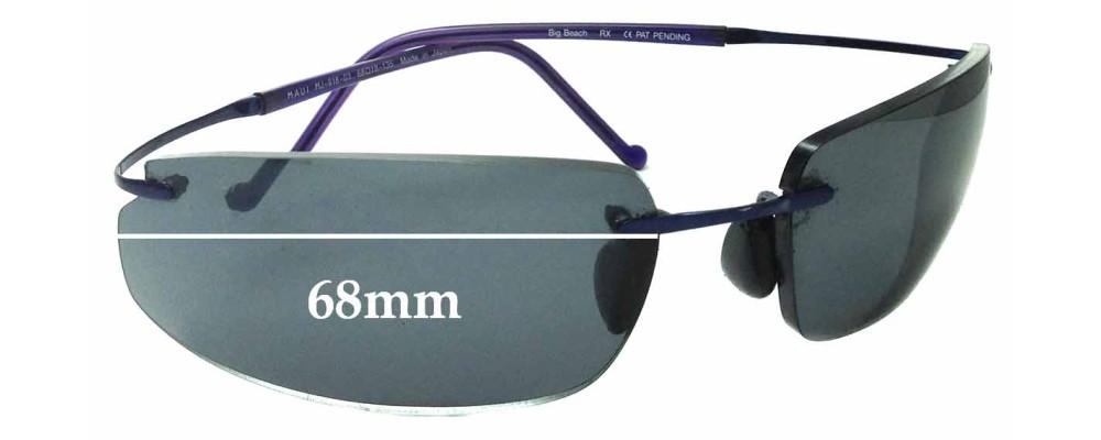 Sunglass Fix Sunglass Replacement Lenses for Maui Jim Big Beach MJ918 - 68mm Wide