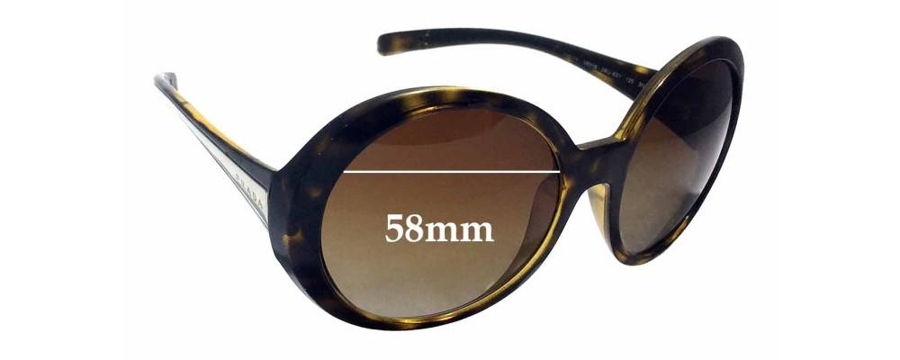 Sunglass Fix Sunglass Replacement Lenses for Prada SPR21L - 58mm Wide