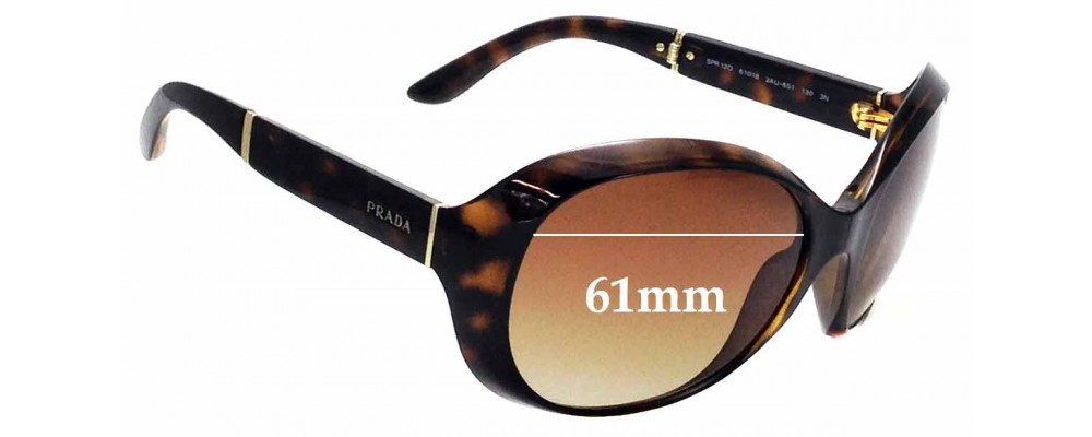 Sunglass Fix Sunglass Replacement Lenses for Prada SPR12O - 61mm Wide
