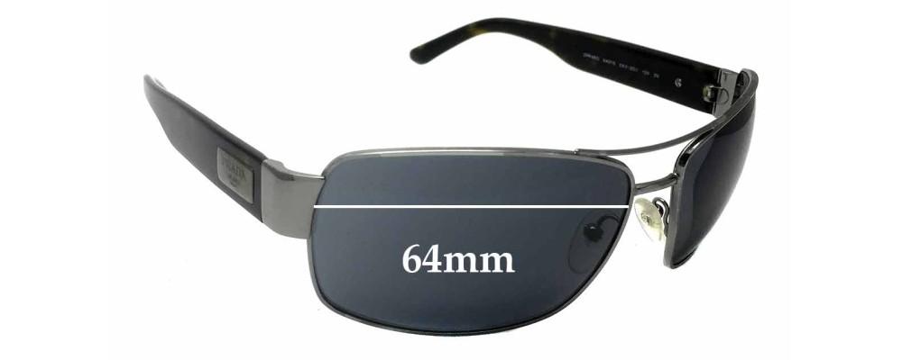 Sunglass Fix Sunglass Replacement Lenses for Prada SPR66O - 64mm Wide
