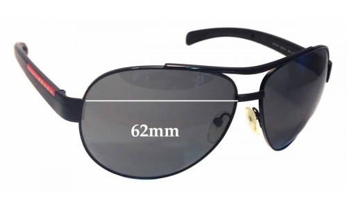 Sunglass Fix Sunglass Replacement Lenses for Prada SPS50I - 62mm Wide