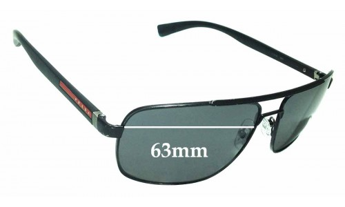 Sunglass Fix Sunglass Replacement Lenses for Prada SPS55N - 63mm wide