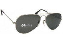 Sunglass Fix Sunglass Replacement Lenses for Ray Ban B&L RB3025 - 64mm Wide