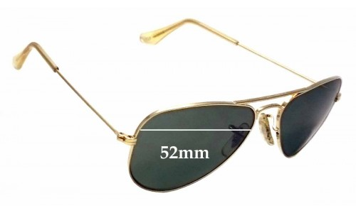 Sunglass Fix Sunglass Replacement Lenses for Ray Ban B&L Aviator USA W1878 - 52mm Wide