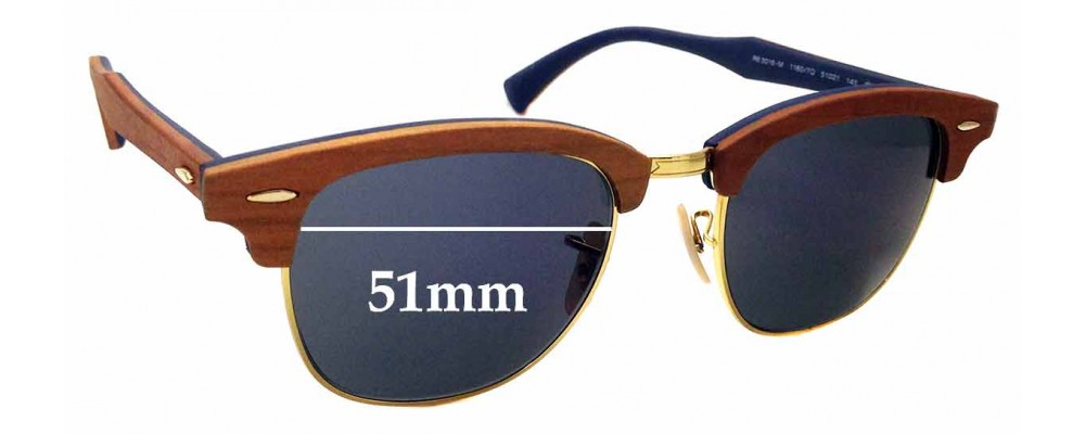 Sunglass Fix Sunglass Replacement Lenses for Ray Ban Clubmaster RB3016-M - 51mm Wide