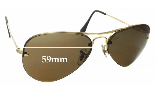 Sunglass Fix Sunglass Replacement Lenses for Ray Ban RB3214 Rimless Aviator 59mm wide