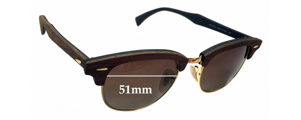 Sunglass Fix Sunglass Replacement Lenses for Ray Ban Clubmaster RB5154-M - 51mm Wide x 39.5mm Tall