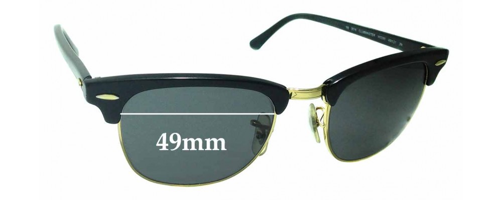 1d5627b85e Sunglass Fix Sunglass Replacement Lenses for Ray Ban WO365 RB3016 Clubmaster  - 49mm Wide