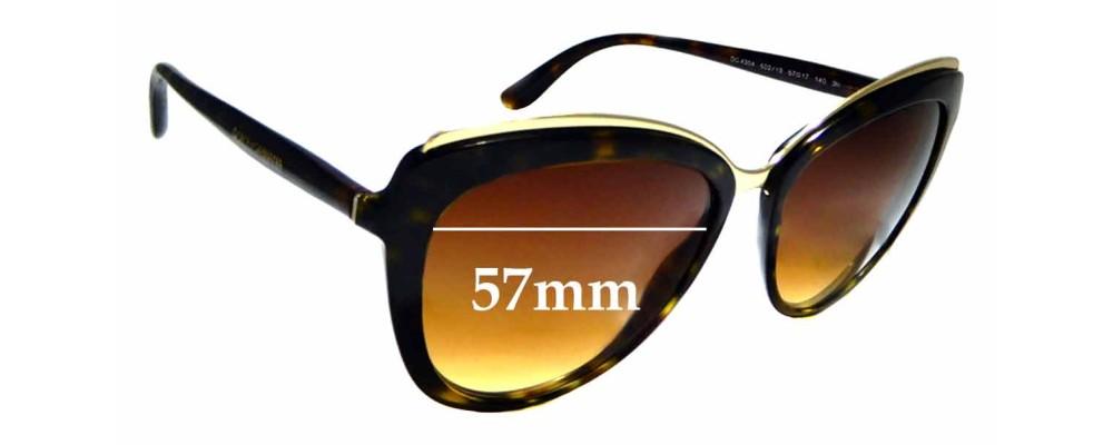 3119b231d049 Sunglass Fix Sunglass Replacement Lenses for Dolce   Gabbana DG 4304 - 57mm  wide