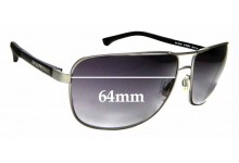 Sunglass Fix Sunglass Replacement Lenses for Emporio Armani EA2033 - 64mm Wide