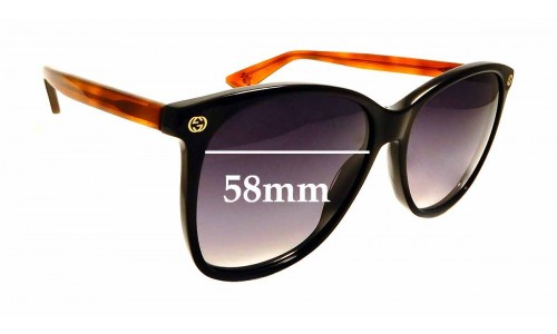 Sunglass Fix Sunglass Replacement Lenses for Gucci GG0024S - 58mm wide