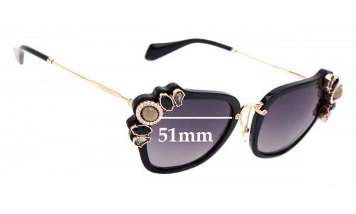 Sunglass Fix Sunglass Replacement Lenses for Miu Miu SMU03S - 51mm Wide