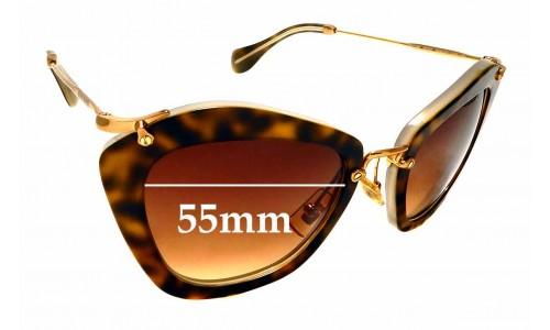 Sunglass Fix Sunglass Replacement Lenses for Miu Miu SMU10N - 55mm Wide