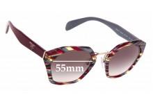 Sunglass Fix Sunglass Replacement Lenses for Prada SPR04T - 55mm Wide