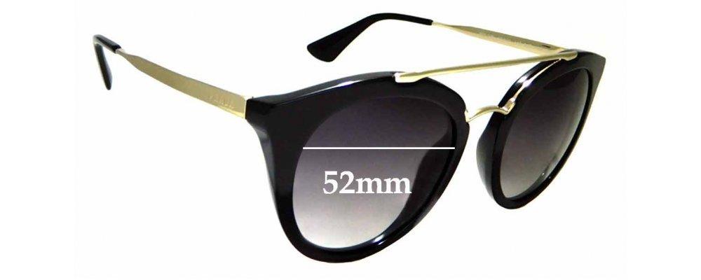 Sunglass Fix Sunglass Replacement Lenses for Prada SPR23S - 52mm Wide