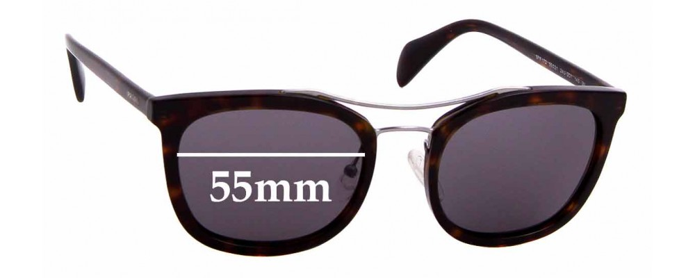 Sunglass Fix Sunglass Replacement Lenses for Prada SPR17Q - 55mm Wide