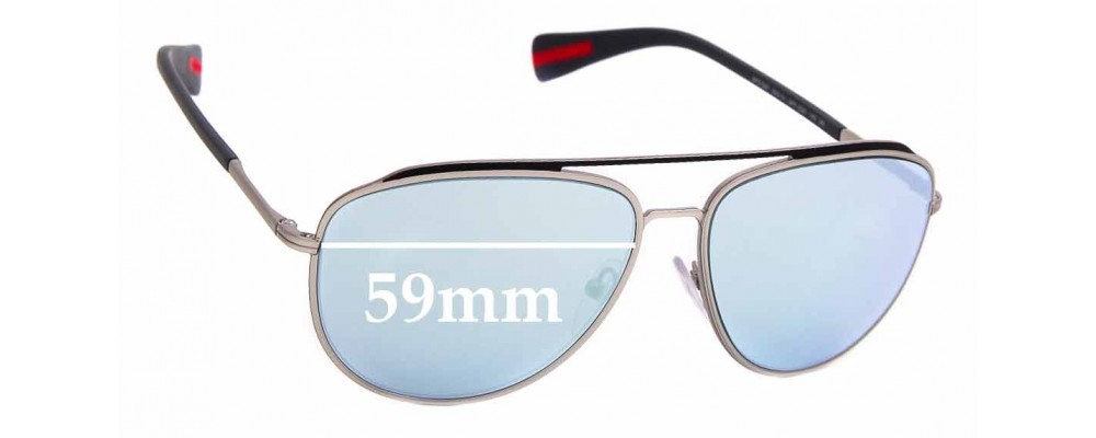 Sunglass Fix Sunglass Replacement Lenses for Prada SPS55R - 59mm Wide