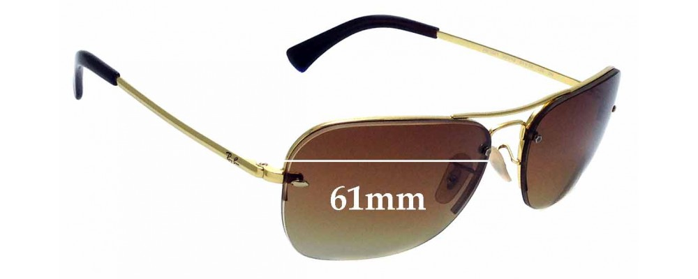 Sunglass Fix Sunglass Replacement Lenses for Ray Ban RB3541 - 61mm Wide