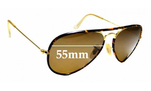 Sunglass Fix Sunglass Replacement Lenses for Ray Ban Aviator RB3025 J-M - 55mm wide