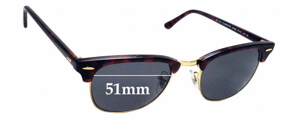 Sunglass Fix Sunglass Replacement Lenses for Ray Ban Clubmaster RB3016 WO366 - 51mm Wide