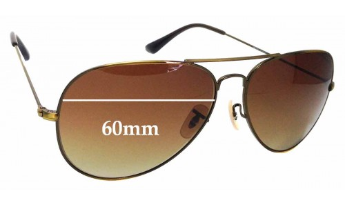 Sunglass Fix Sunglass Replacement Lenses for Ray Ban Aviator RB3026 - 60mm Wide