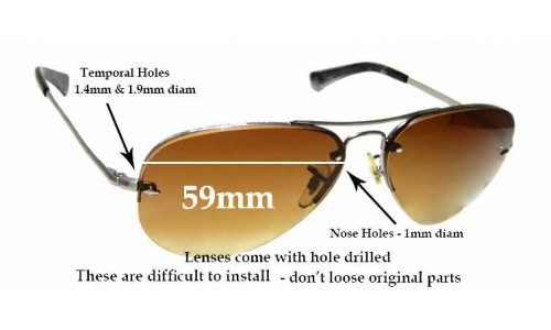 Sunglass Fix Sunglass Replacement Lenses for Ray Ban Aviators RB3449 - 59mm across **These lenses have a smaller hole on the nose (1mm)**