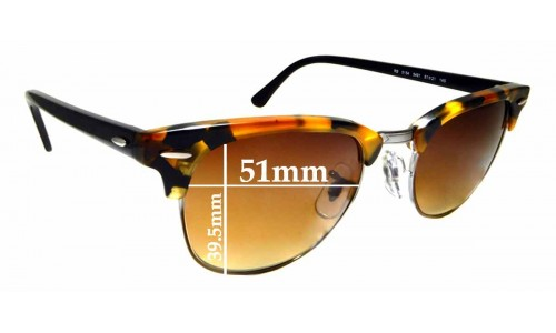 Sunglass Fix Sunglass Replacement Lenses for Ray Ban Clubmaster RB5154 - 51mm wide  x 39.5mm high * Please measure as there are multiple sizes *