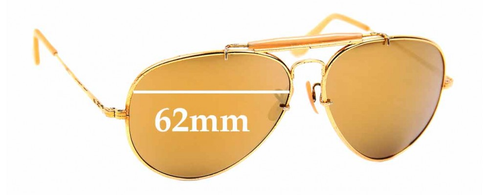 Sunglass Fix Sunglass Replacement Lenses for Ray Ban B&L The General - 62mm Wide
