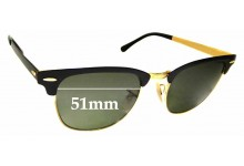 Sunglass Fix Sunglass Replacement Lenses for Ray Ban Clubmaster RB3716 - 51mm Wide
