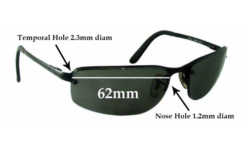 Sunglass Fix Sunglass Replacement Lenses for Ray Ban RB3239 - 62mm wide **These lenses have a smaller 1.2mm hole on the nose**
