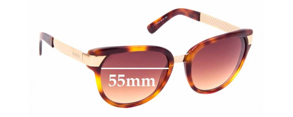 Sunglass Fix Sunglass Replacement Lenses for Gucci GG 3651/S - 55mm Wide