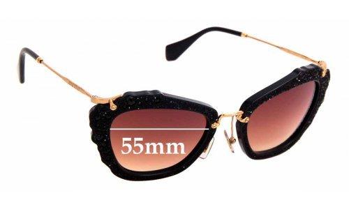 Sunglass Fix Sunglass Replacement Lenses for Miu Miu SMU04Q - 55mm Wide