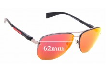 Sunglass Fix Sunglass Replacement Lenses for Prada PS56MS - 62mm Wide