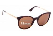 Sunglass Fix Sunglass Replacement Lenses for Prada SPR17S-F -55mm Wide