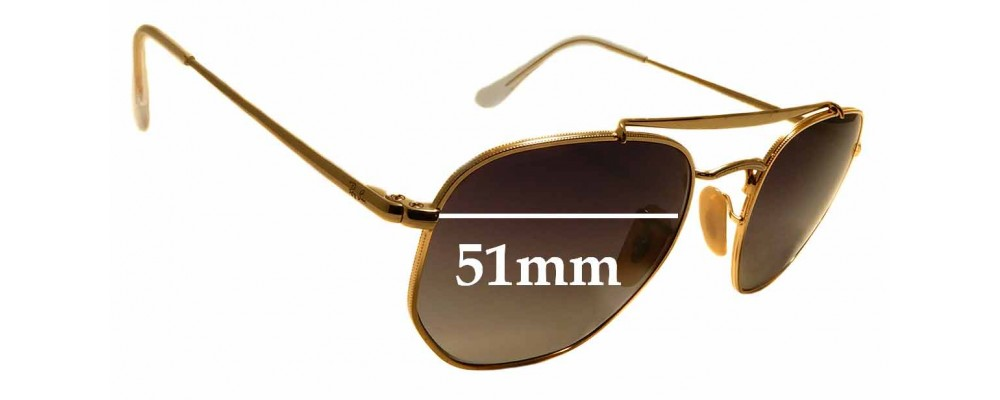 Sunglass Fix Sunglass Replacement Lenses for Ray Ban RB3648 The Marshal - 51mm Wide