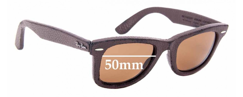 Sunglass Fix Sunglass Replacement Lenses for Ray Ban Wayfarer RB2140-Q-M Genuine Leather - 50mm Wide