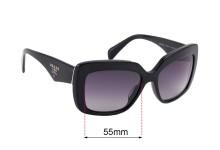 Sunglass Fix Sunglass Replacement Lenses for Prada SPR03Q-A - 55mm Wide
