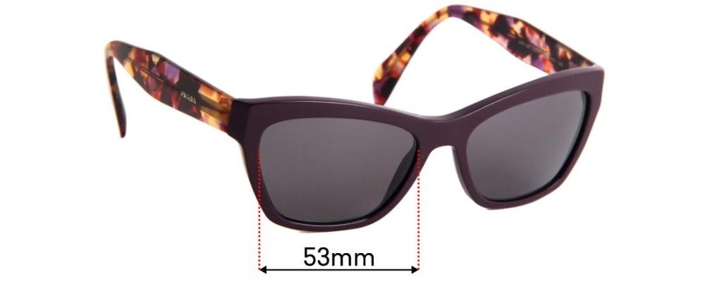 Sunglass Fix Sunglass Replacement Lenses for Prada VPR14Q - 53mm Wide