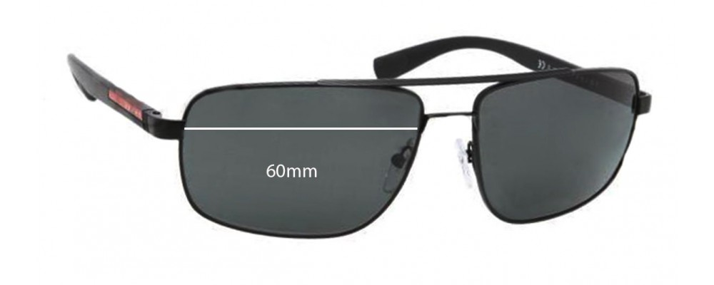 Sunglass Fix Sunglass Replacement Lenses for Prada SPS55N - 60mm Wide