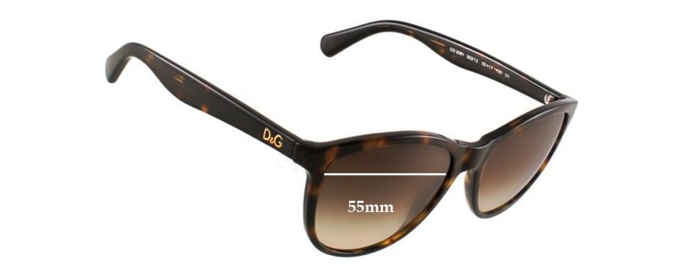 Sunglass Fix Sunglass Replacement Lenses for Dolce & Gabbana DG3091 - 55mm Wide