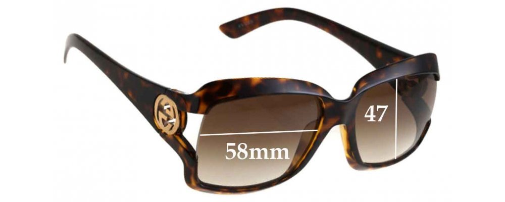 Sunglass Fix Sunglass Replacement Lenses for Gucci GG2598 - 58mm Wide