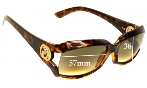 Sunglass Fix Sunglass Replacement Lenses for Gucci GG2599-S - 57mm Wide and 36mm Tall - Very simllar looking to GG2598's so please measure height